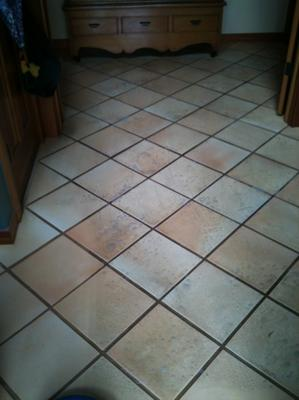 Entry tile floor before cleaning.